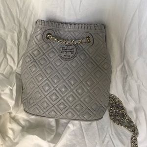 Tory Burch Marion Quilted Backpack in Gray